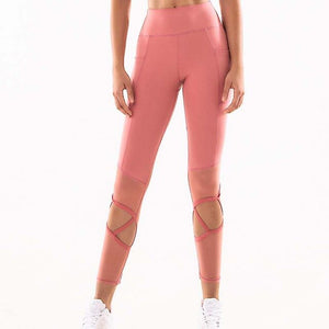 Women Workout Fitness Capri Pants Women Sexy Hollow Out Sport Cropped Sport Pants High Waist Yoga Gym Tights Gym  Leggings  clothing