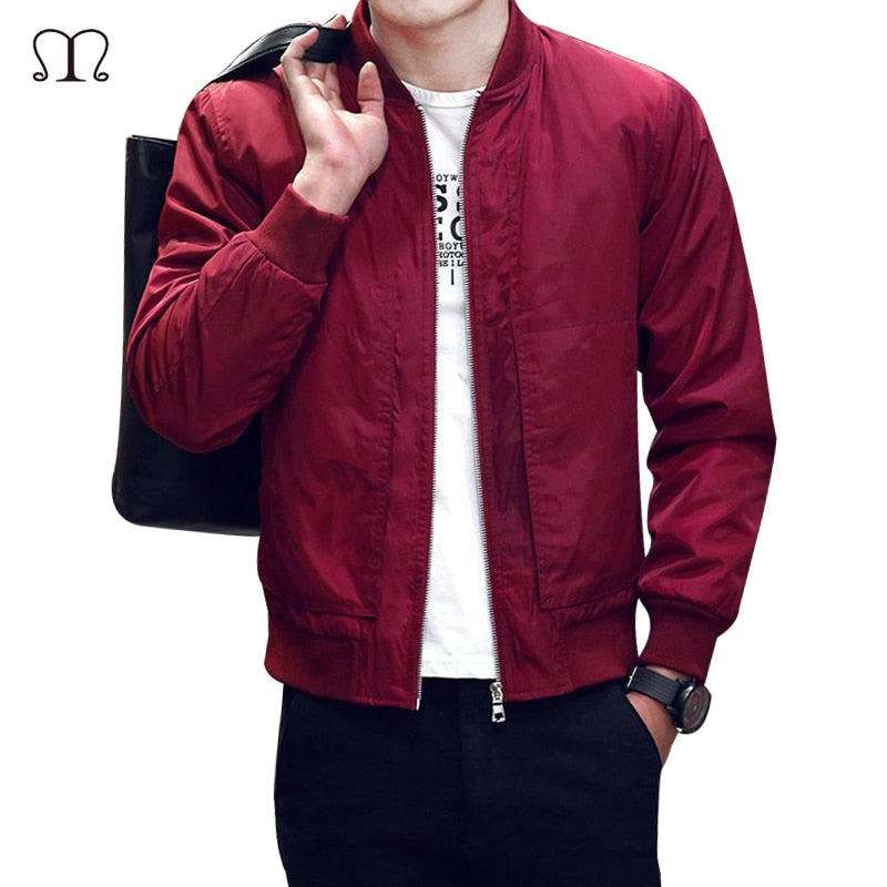 Solid Men Bomber Jacket Fashion Zip Up Coats Male Slim Fit College Luxury Pilot Baseball Jackets Men Windbreaker Top Jacket Coat