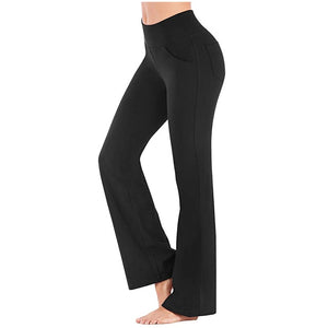 Yoga Pants Women Running Pants Tights for Women Loose Yoga Trousers Stretchy Soft Bamboo Pocket High Waist Fitness Yoga Pants
