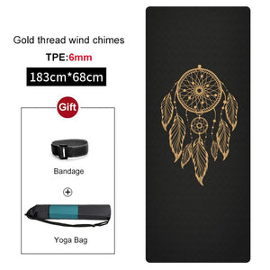 Non-slip TPE Yoga Mat 6mm New Design Gym Fitness Pilates Carpet Pads for Beginner Women Esterilla Sports mats Tasteless Cushion