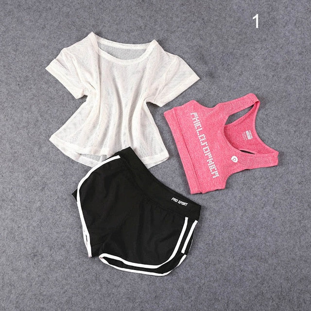 3 Pcs Set Women Yoga Suit Fitness Clothing Sportswear for Female Workout Sports Clothes Athletic Running Yoga Suit Sets