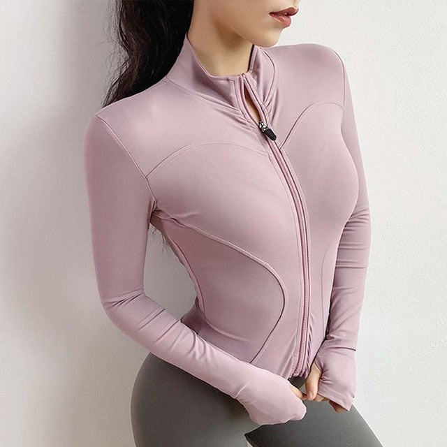 Women Athletic Sport Shirts Slim Fit Long Sleeved Fitness coat  Yoga Crop Tops with Thumb Holes Gym Jacket Workout Sweatshirts