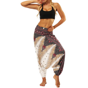 Women'S Sports Pants Casual Summer Boho print Loose Yoga Trousers Baggy Harem Vintage High Waist Pants Spodnie Damskie Mujer