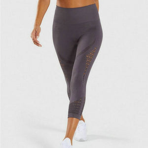 3rd Generation High Waist Energy Seamless Cropped Leggings Fitness Clothing Gym Capri Pants Women Solid Workout Athletic Trouser