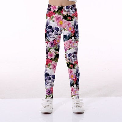 5-12Y Spring Girls Pants Sports Leggings For Girls 3D printing Flamingo Kids teenagers Yoga Pants Trousers Children Clothes