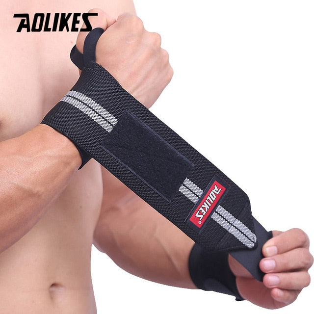 AOLIKES 1PCS Wrist Support Gym Weightlifting Training Weight Lifting Gloves Bar Grip Barbell Straps Wraps Hand Protection