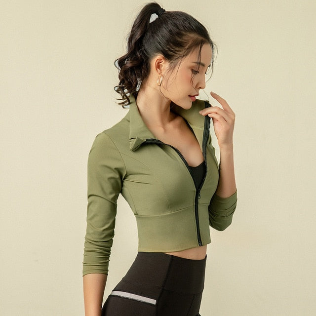 Elastic Zipper Running Jacket Women Sportswear Women Winter Sport Jackets Yoga Jacket Sports Jacket For Running Fitness Jacket