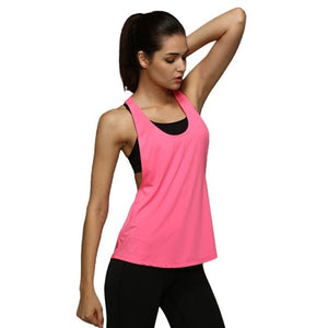Sport Women Tank Tops Dry Quick Yoga Shirts Loose Fitness Sleeveless Vest Singlet Running Training Tops Outdoor