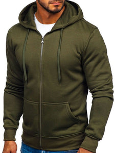 2019 New Men's Casual Zipper Hoodies Sweatshirts Male black Green Solid Color Hooded Outerwear Tops S-2XL