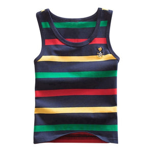4 Striped Girls Boys Vest Sleeveless Tanks Tops For Girl Combed Cotton Kids Vest Camisoles Shirt Underwear New