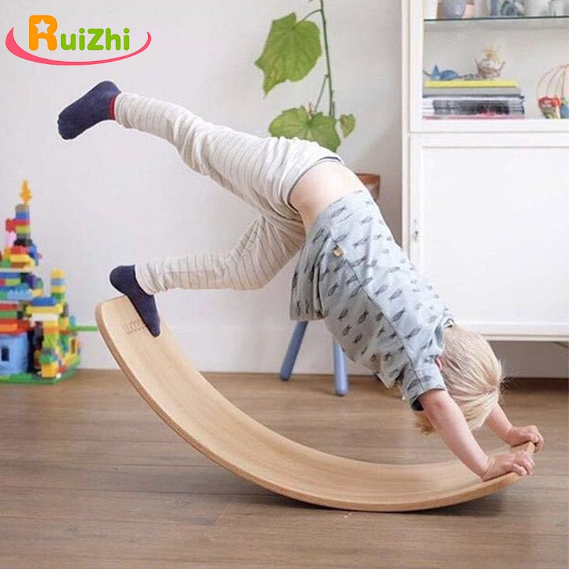 Ruizhi Wooden Balance Board Children Curved Seesaw Yoga Fitness Equipment Baby Indoor Toys Kids Outdoor Sports RZ1178