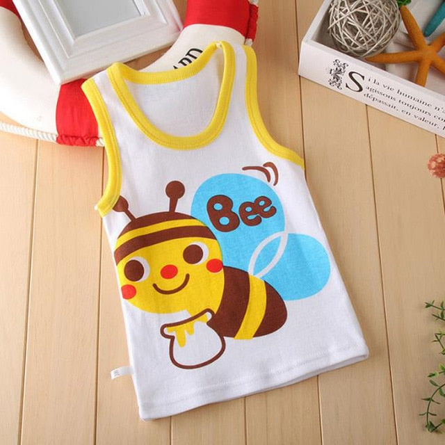 2020 Summer Boys T-Shirt Cartoon Kids Underwear Sleeveless Cotton Girls Undershirts Baby Camisole Shirts for Children Clothing