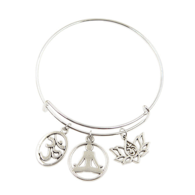 New Silver Color Metal Women Bracelets Vintage Yoga Om Yoga Lotus Yoga Practitioner Charms Accessory Men Bangles Jewelry Gifts