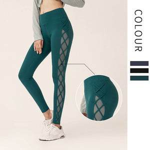 Gauze Stitching Sexy Mesh Hip-lifting Fitness Pants Female High Elasticity Sports Tight Leggings  Running Training Yoga Pants