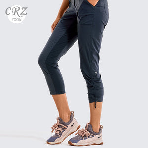 CRZ YOGA Women Go to Stuido Drawstring Striped Track Pants Capri Woven Joggers Outdoor Cargo Hiking Pants -25 inches