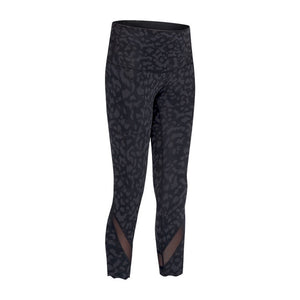 SHINBENE Calf Mesh Patchwork Sport Fitness Yoga Capri Pants Women CAMO-PANTHER Naked-feel Fabric Running Gym Cropped Pants 4-12