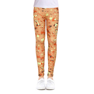 Girls Leggings for Outdoor Travel Clothes Girls Pants Student Casual Wear Customizable Stylish Computer Printing For 4-13 Years