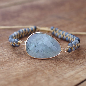 Natural Stones Labradorite Boho Friendship Bracelet Women Man Handmade String Braided Yoga Charm Wrap Bracelet Bangle