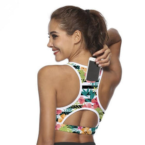 2020 Yoga BH Bra with Phone Pocket Sport Top Women Fitness Push up Gym Running Shockproof Flower Shirt Compression Athletic Vest