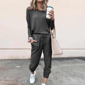 Two Piece Lounge Wear Spring Autumn Sweatsuit Ropa Deportiva Mujer Tracksuits Women Sets Ensemble Sport Femme Gray Pink Outfit