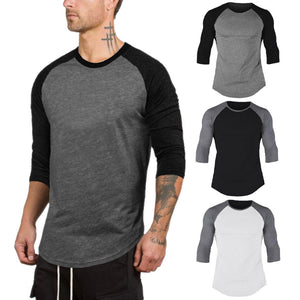 Men's 3/4 Sleeve Running Men Designer Quick Dry T-Shirts Running Slim Fit Tops Tees Sport Men 's Fitness Gym T Shirts Muscle Tee