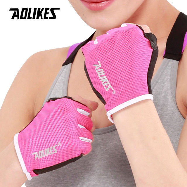 AOLIKES 1 Pair Anti-skid Breathable Gym Gloves Body Building Training Sport Dumbbell Fitness Exercise Weight Lifting Gloves