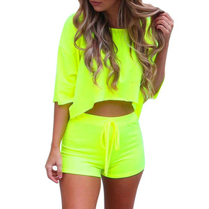 Women Summer Loose 2 Piece Set Crop Top and Shorts Outfit Short Sport Jumpsuit