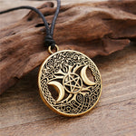 Load image into Gallery viewer, Dawapara Triple Moon Goddess Wicca Pentagram Magic supernatural Amulet Necklace Women tree of life moon necklaces pendants
