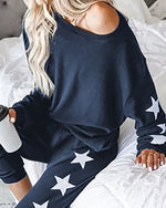 Load image into Gallery viewer, Women Loungewear Multi Printed Cold Shoulder Top & Pants Pajamas Sets  Women Two Piece Set Bedroom Homewear