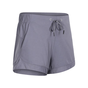 SHINBENE Waist Drawstring Loose Fit Training Gym Sport Shorts Women Naked-feel Fabric Running Yoga Fitness Shorts with Pockets