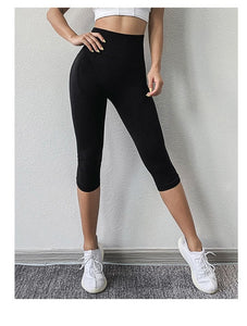 Seamless Sport Leggings Women Crop Yoga Pants Embossed Capris Slim Running Trousers Elastic High Waist Gym Fitness Tights Female