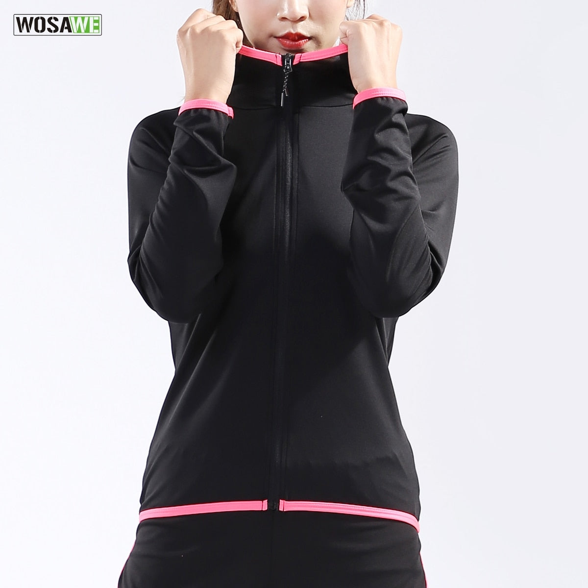 WOSAWE Woman Running Jacket Sports New Yoga Gym Quick Dry Long Sleeves Breathable Training Female Workout Slim Zipper Coat