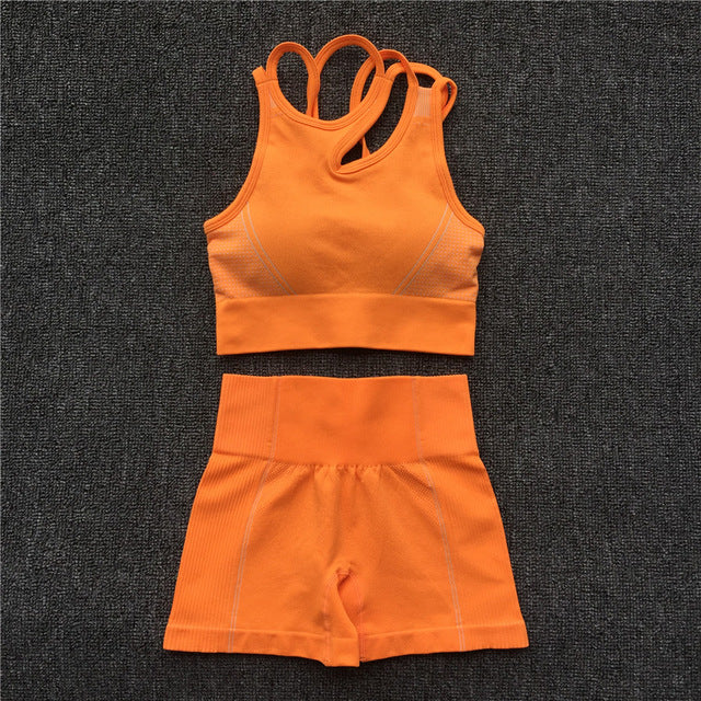 Yoga Set Women Sleeveless Sport Suit Workout Gym Clothes Fitness Sports Bra High Waist Shorts 2 Piece Utra Seamless Sportswear