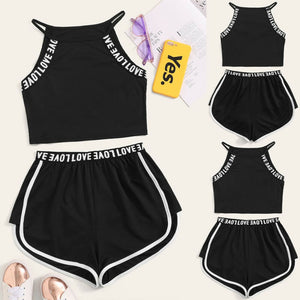 2Pcs Halter Neck Side Striped Black Yoga Sets Sexy Women Crop Top Shorts Set Gym Running Sportwear Suit Fitness Sport Workout