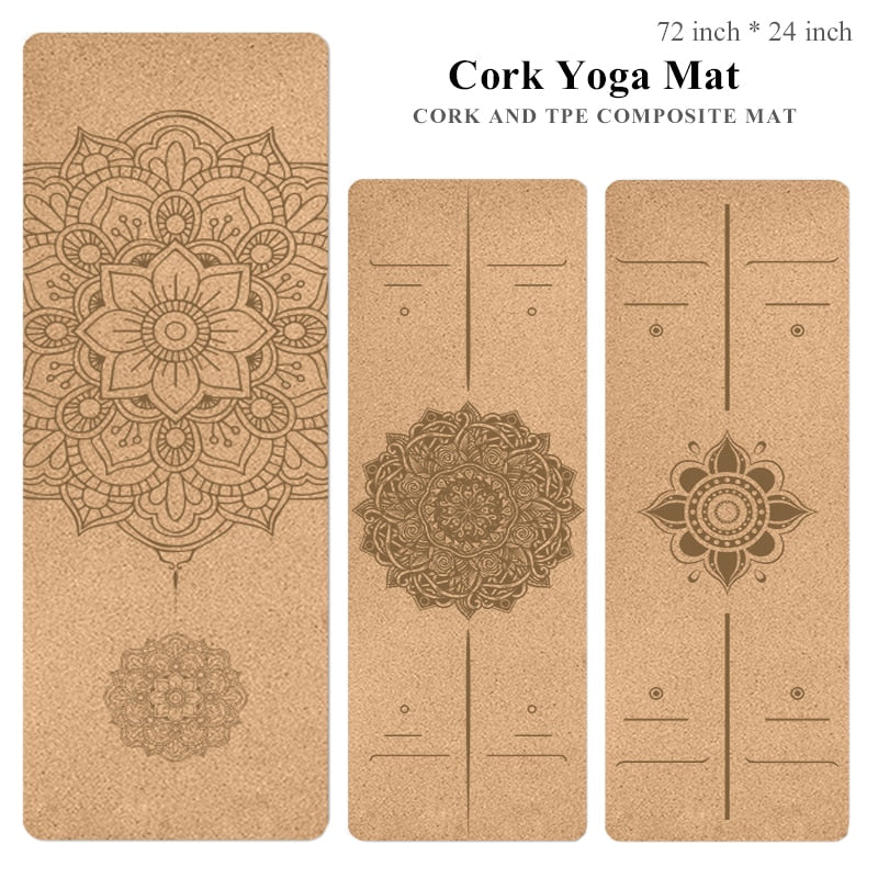72 *24 inch Natural Cork TPE Yoga Mat Non-slip Pilates Exercise Mats Fitness Gym Sports Slimming Balance Training Pads 4mm