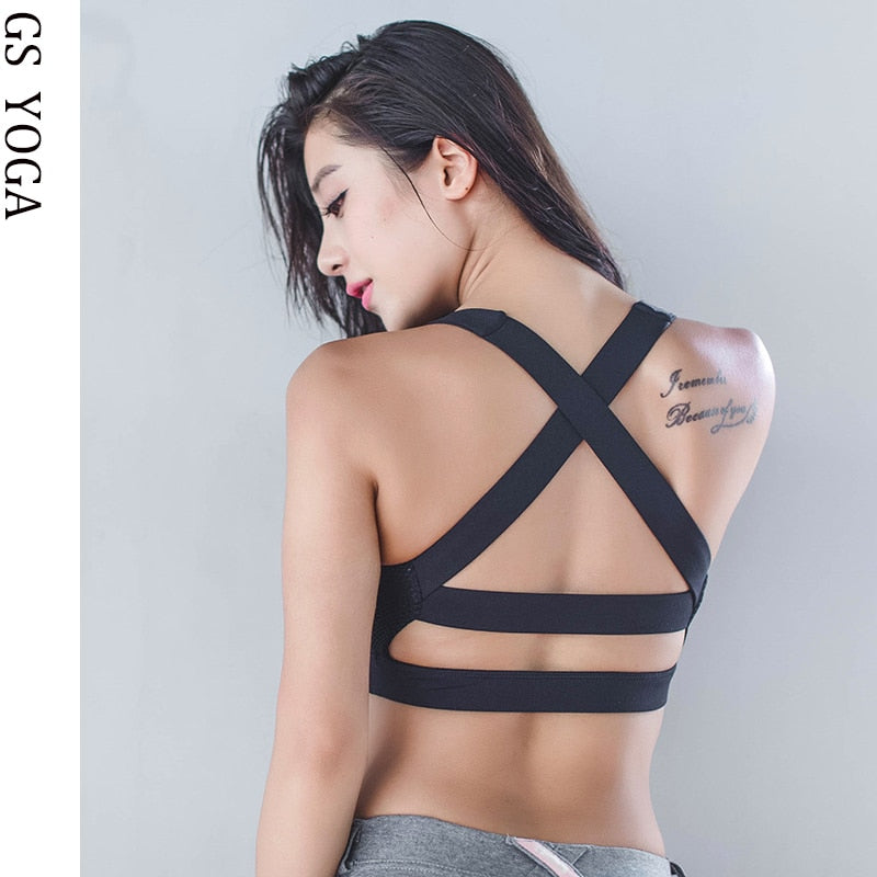 Woman Sexy backside  Sports Bra  Workout Jogging Push up Women's Shockproof  Running Fitness Gym Yoga Bras G-110