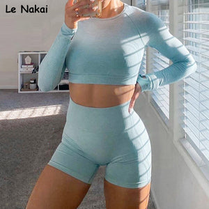2pcs new vital seamless yoga set fitness workout gym suit for women seamless legging set long sleeve crop top gym clothing