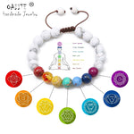 Загрузить изображение в средство просмотра галереи, OAIITE Trendy 7 Chakra Round Beaded Natural Stone Bracelet  For Women Men Healing Balance Therapy Yoga Jewelry Prayer Adjustable