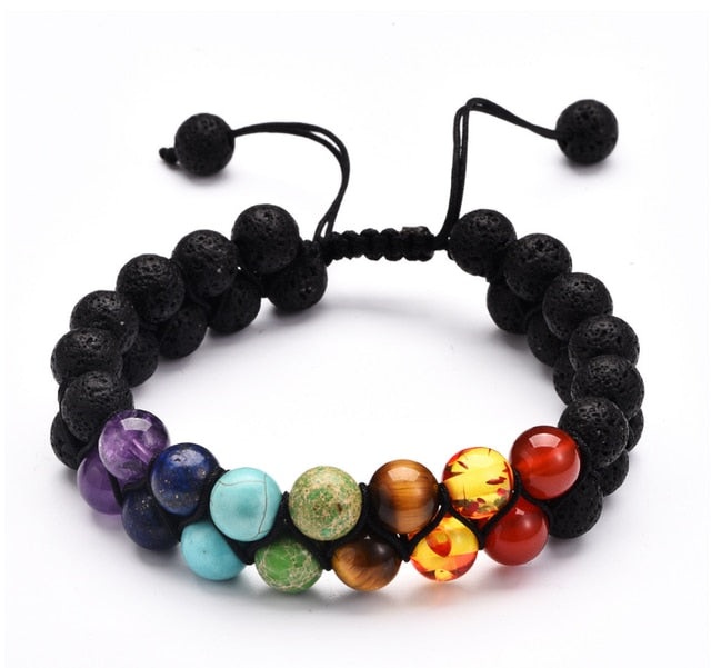 OAIITE Trendy 7 Chakra Round Beaded Natural Stone Bracelet  For Women Men Healing Balance Therapy Yoga Jewelry Prayer Adjustable