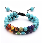 Load image into Gallery viewer, OAIITE Trendy 7 Chakra Round Beaded Natural Stone Bracelet  For Women Men Healing Balance Therapy Yoga Jewelry Prayer Adjustable
