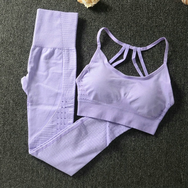 24 Color 2pc/Set Sports Suits Seamless Yoga Set Women Fitness Clothing Sportswear Gym Leggings Padded Push-up Strappy Sports Bra