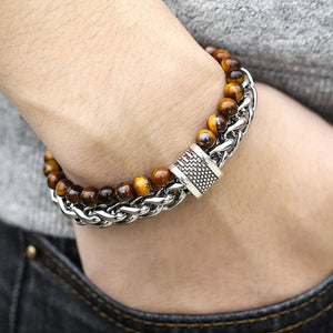 Men's Tiger Eye Stone Beaded Bracelet Stainless Steel Gunmetal Link Chain Yoga Bracelet Male Jewelry Dropshipping 14mm KDBM24