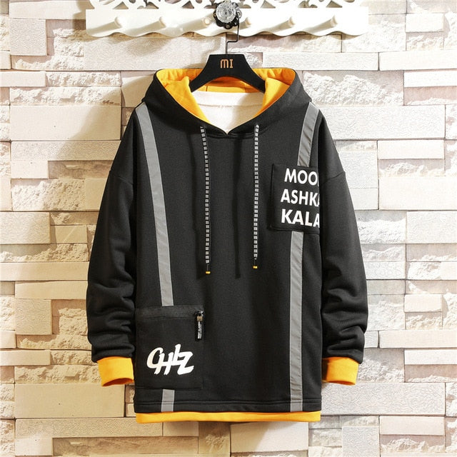 Japan Style Casual O-Neck 2020 Spring Autumn Print Hoodie Sweatshirt Men'S Thick Fleece Hip Hop High Streetwear Clothes