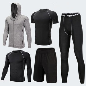 Men's Compression Sportswear Suits Gym Tights Training Clothes Workout Jogging Sports Set Running Tracksuit Dry Fit Plus Size