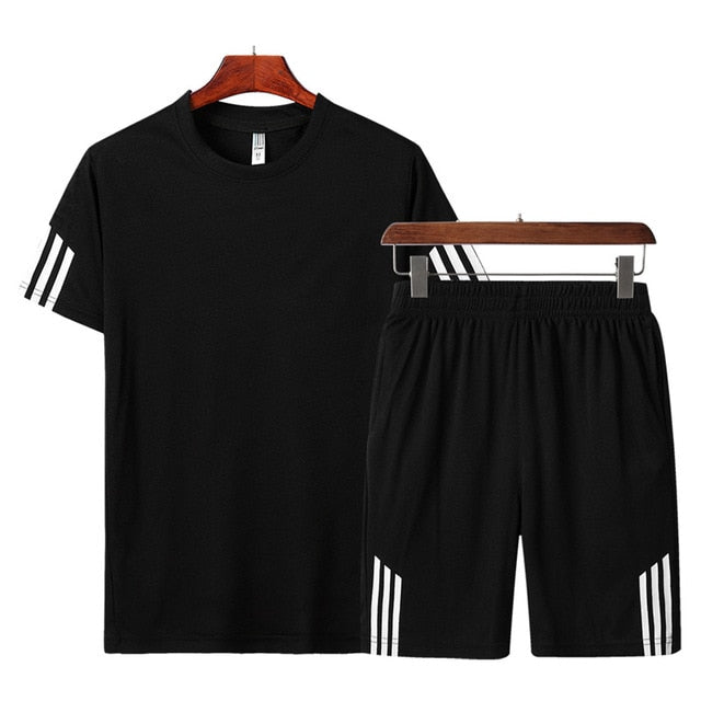 2020 Men Casual Set Fashion 2 PCS Sweat Suit Striped Short Sleeve T-shirt Shorts Sets Male Sportswear Tracksuit Summer Sportsuit