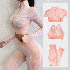 Fitness Suits Yoga Women Outfits 3pcs Long Sleeve Shirt+Sport Top Bras+Seamless Leggings Workout Running Clothing Gym Wear,LF051