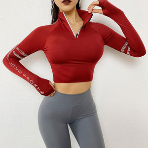 Half Zipper Gym Crop Tops Women Cycling Running Reflective Long Sleeve Sports Sweater Fitness Yoga Tops Thumb Holes Sportswear