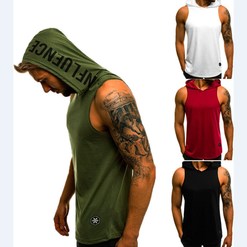 Mens Sleeveless Hoodie Vest Hooded Sweatshirt Sport Gym Fitness Sweater Outdoor Running Tops Vest Shirts