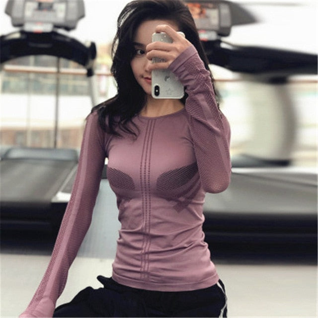 Yoga Tops Women Sportswear S M L Air Mesh Long Sleeve Yoga Shirt Running Jogging Sport Tops Fitness Workout Gym Clothing Women