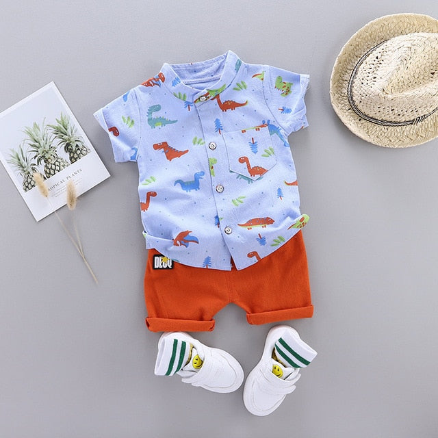 Cute Toddler Boy Summer Set 2020 New Cartoon Dinosaur Print Short Sleeve Shirt + Pants for Kid Baby Boys Clothes
